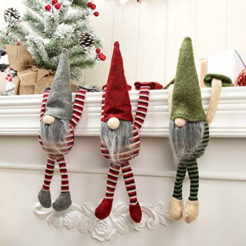 ARCCI Christmas Gnome Decoration Handmade 11' Swedish Figurines Hanging Ornaments Scandinavian Tomte Nisse Nordic Gnome Elf - Set of 3