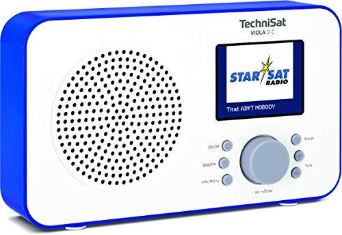 TechniSat Viola 2 C tragbares DAB Radio (DAB+, UKW, Lautsprecher, Kopfhöreranschluss, 2,4 Zoll Farbdisplay, Tastensteuerung, klein, 1 Watt RMS) weiß/blau