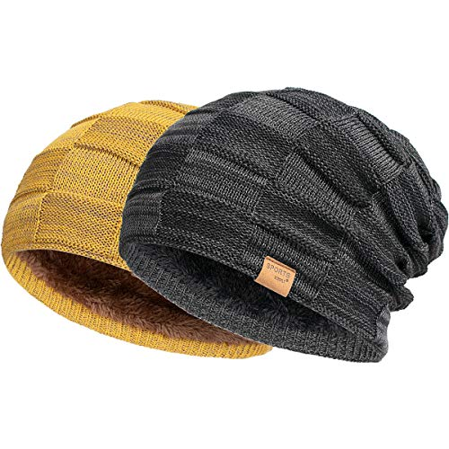 Vgogfly Slouchy Beanie for Men Winter Hats for Guys Cool Beanies Mens Lined Knit Warm Thick Skully Stocking Binie Hat Black/Yellow