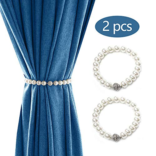 A+ 2 Stück Halter Vorhang, Kristall Schnalle Magnetische Vorhang Raffhalter, Schmuck Elegant Perle Strang Vorhang Vorhang Halter für Fenster und Blackout Vorhänge – Perlweiß