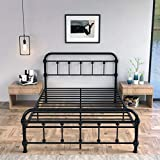 Full Size Metal Bed Frame w/ Headboard Footboard, Platform Bed Frame Iron Art Mattress Foundation Base Platform w/Heavy Duty Steel Slabs & 9-Leg Support, Black