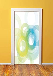 Abstract 3D Door Sticker Wall Decals Mural Wallpaper,Blue Yellow Circles in Modern Design Grunge Inspired Ombre Style Round Shapes Decorative,DIY Art Home Decor Poster Decoration 30.3x78.5373,Sky Blue
