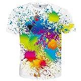 Neemanndy Unisex White Color Paint Splatter Colorful Shirt 3D Graphic Print Short Sleeve T-Shirts for Men and Women, Medium