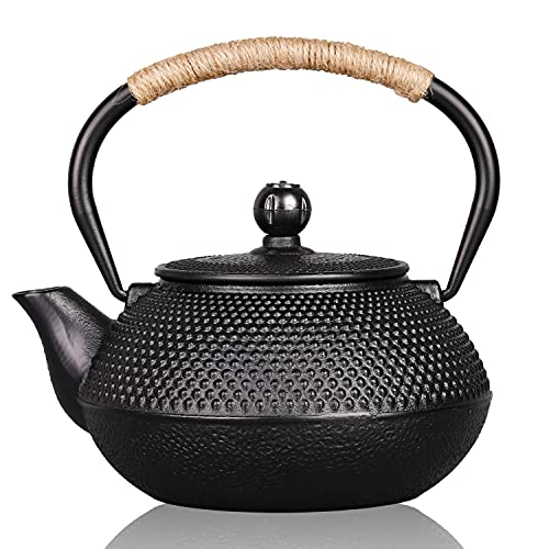 PARACITY Cast Iron Teapot for Stovetop Safe Cast Iron Tea Pot with Stainless Steel Infuser Japanese Sotya Tetsubin Coated with Enameled Interior 23.5 oz /700 ml