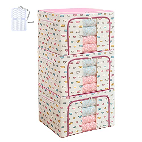Clothes Storage Bag 100L Large Capacity Organizer with Reinforced Handle Thick Fabric for Comforters, Iron bracket,Blankets, Bedding, Foldable with Sturdy Zipper, Clear Window, Pink bear (66L, 3 Pack)