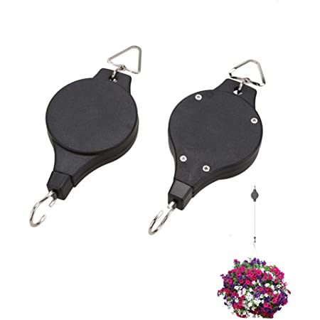 Plant Pulley, Retractable Heavy Duty Easy Reach Pulley Plant Hanging Flower Basket Hook Hanger, for Garden Baskets Pots Indoor Outdoor Decoration -2 Pieces in Black