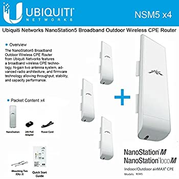 Ubiquiti NSM5 Bundle of 4 NanoStation M5 5GHz Outdoor airMAX CPE 150+Mbps 15+km