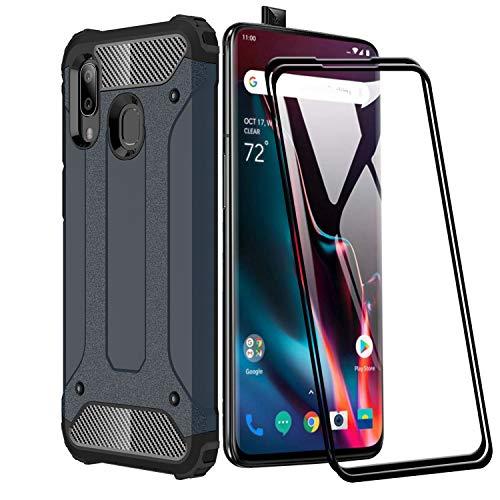 XIFAN Funda para Huawei P Smart Z, protección contra Golpes de TPU + PC Resistente a arañazos (Doble Capa) Carcasa para Huawei P Smart Z, Azul Marino + 2 Piezas Protector de Pantalla