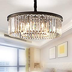 """✨ Modern Top Grade K9 crystal chandeliers ceiling light pendant lights 2-Tier 5 Lights ✨ DIMENSION: Dia21.6"""" * H7.1"""" , Cord Length: 28""""(Max), LIGHT SOURCE: E12 ( Bulbs are included ) Color Temperature: 4000K, Maximum 60W Per Bulb, Compatible With Dim..."""
