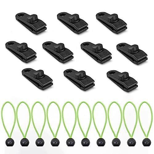 N\C Clip de Lona con mosquetón, Clip de Lona Multifuncional, Clip de cobertizo de Camping, Clip de Lona, Clip de cocodrilo de Tienda (10 Piezas), 10 tensores elásticos