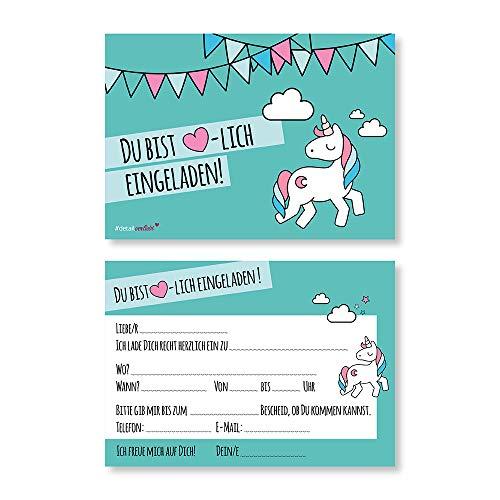 15 Einhorn-Einladungskarten zum Ausfüllen I dv_541 türkis I DIN A6 I Einladung für Mädchen I Kinder-Geburtstag Einschulung Motto-Party