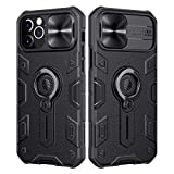 Nillkin Compatible for iPhone 12 Pro Max Case, CamShield Armor Case with Slide Camera Cover, PC & TPU Impact-Resistant Bumpers Case with Ring Kickstand for iPhone 12 Pro Max 6.7 inch (2020) - Black