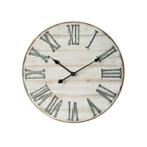 Rebecca Mobili Horloge Murale Rond, Bois MDF, Metal, Design Vintage, Chambre Salon – Dimensions: Ø 50 x L 4,5 cm - Art. RE6006