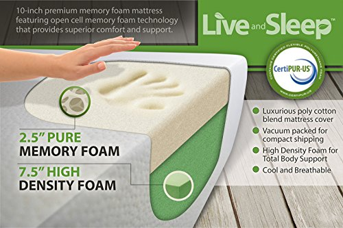 Live and Sleep Queen Mattress - Memory Foam Mattress - 10 Inch Cool Bed in a Box - Medium Firm - Includes Premium Foam Pillow - CertiPur US Certified - Queen Size