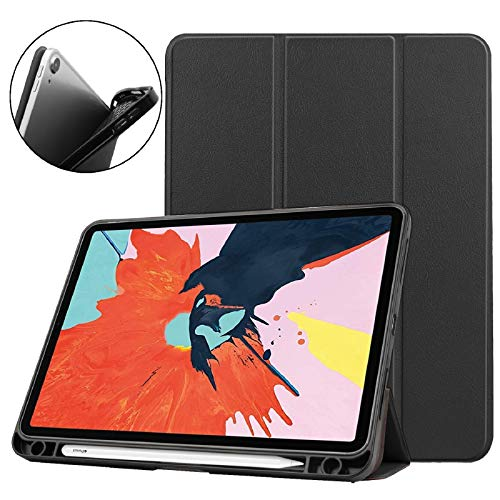 EC-Touch Case for iPad Air 4th Generation 10.9inch 2020,[Support Wireless Charging] Smart Magnetic Stand Folio Case Cover with Pencil Holder, Auto Wake/Sleep (Black)