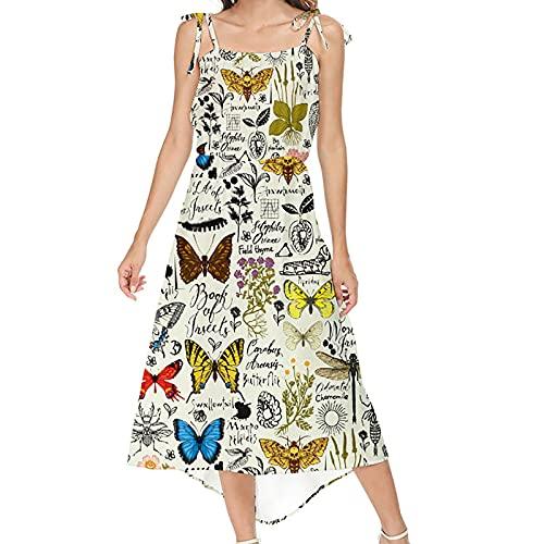 Vestido de verano para mujer, largo, sin mangas, hombros descubiertos, informal, línea A, sexy, estilo boho, túnica, estampado floral, vestido de playa, vestido de noche, elegante amarillo S