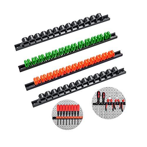 Schraubendreher-Organizer und Schraubenschlüssel ,4x Werkzeughalter Leiste - ca. 35 cm lang für Werkstatt - Halterung (2 schwarz 1 orange 1 Grün)