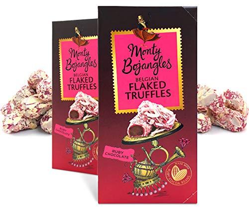 Monty Bojangles Luxury Flaked Belgische Ruby Milchschokolade Pralinen, 2 x 100g Geschenkboxen