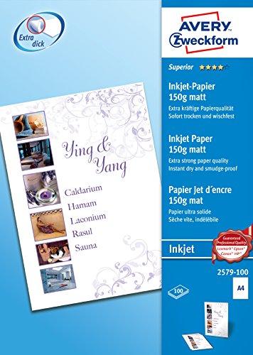 AVERY Zweckform 2579-100 Superior Inkjet Papier (A4, einseitig beschichtet, matt, 150 g/m², 100 Blatt)