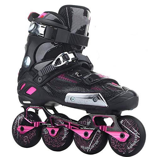 Rolschaatsen Dames Man Inline skates Ademend Leer Handstiksels Borduren Rolschaatsen Koude Bescherming Antislijtage Antibotsing Mute Rolschaatsen