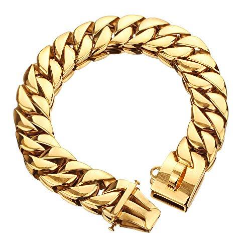 ZXPAG Choke Chain voor Honden Martingale Collar Hond Chain Collars 32mm grote gouden ketting medium en grote huisdier hond ketting ketting ketting 24K goud roestvrij staal gegoten ketting, gepolijst, geëlektrobeerd