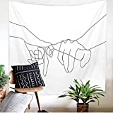 Yhjdcc Hippie Minimalist Malerei Paar Finger Tapisserie Abstrakte Linie Tapisserie Nordic Style Romantische Tapisserie Tagesdecke Psychedelic White Tapestry Home 150cm x 200 cm