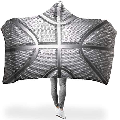 Lind88 Kapuzendecke mit Basketball-Motiv, silberfarben, Textur-Muster, Wintermantel, Textur, Basketball, zwei Größen, geeignet für Frauen, Fleece, weiß, 50x60 inch