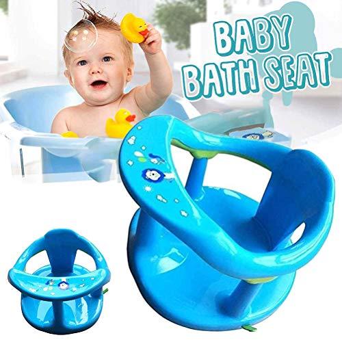 Qhome Soft-Touch-Baby-Badesitz Baby-Badewannensitz zum Sitzen im Bad Baby-Badewanne mit Rückenlehnenstütze Und Saugnäpfen für Stabilität