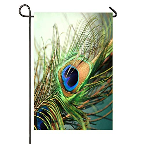 hongwei Teal Peacock Feather 18 Dos Blanc Funny Party Garden Flags - Drapeaux de Jardin décoratif intérieur et extérieur - Drapeaux verticaux Double Face