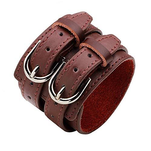 YXYY Pulsera Doble Hebilla Diseño de cinturón Simple Pulsera de Cuero para Hombre Pulseras Anchas Brazalete Brazalete Pulsera Pulsera para Hombre