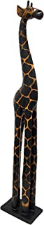 3 Foot Tall Hand-Carved Wooden Giraffe Statue Decor