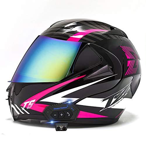 ZLYJ Casco Integrado para Motocicleta con Auricular Bluetooth Casco Modular Abatible para Motocicleta con Lente Doble Antivaho, Aprobado por La ECE, Casco Ligero para Motocicletas A,L