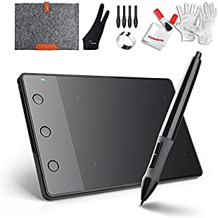 "Huion H420 USB Art Design Graphics Drawing Tablet Board Digital Pen with 10"" Wool Liner Bag and Two Fingers Anti-fouling Glove"