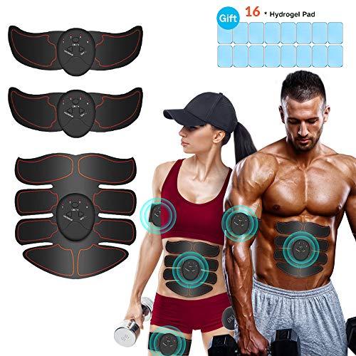 Breett Electroestimulador Muscular, Estimulador Abdominal,ABS Estimulador Muscular para Hombre/Mujer, Abdomen Brazo Piernas Glúteos, Almohadillas de Gel 16pcs