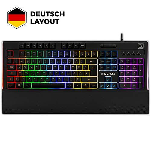 THE G-LAB Keyz Tellurium Gamer Tastatur QWERTZ - Gaming-Tastatur mit mehrfarbiger RGB-Hintergrundbeleuchtung, magnetischer Handballenauflage, 6 Makrotasten, Anti-Ghosting - PC PS4 Xbox One (Schwarz)