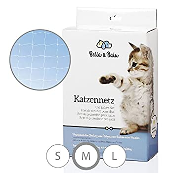 Bella & Balu Filet de Protection Transparent pour Chat pour sa sécurité pour Balcon & Terasse | Filet Anti-Fugue avec Crochets, Chevilles, Corde complète et Instructions de Fixation fournis