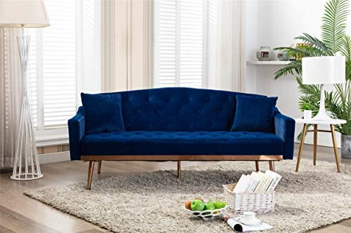 Velvet Futon Sectional Sofa Bed GoTen Modern Convertible Loveseat Sleeper Couch with 2 Pillows product image