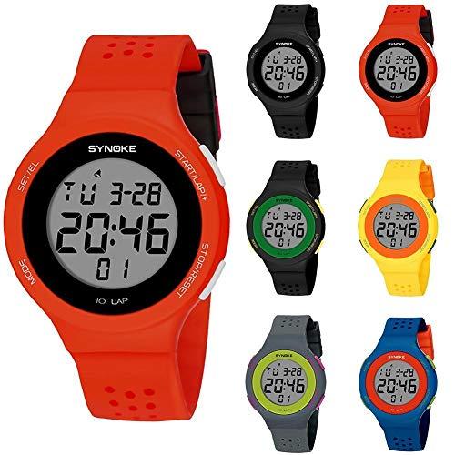 Populares Marca Luxur yFashion Deporte Hombres Mujeres Impermeable Alarma Fecha Cronómetro Regalo del Reloj de Pulsera Digital (Color : Black Green)
