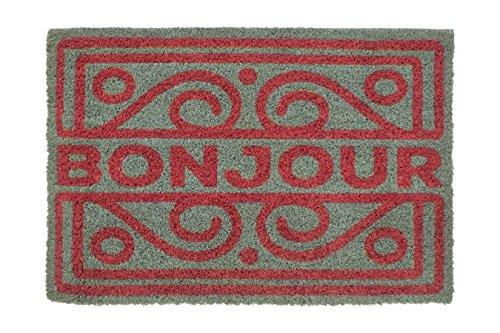 Premier Housewares–Bonjour Felpudo, Coco, PVC, Rojo/Gris, 40x 60x 2cm