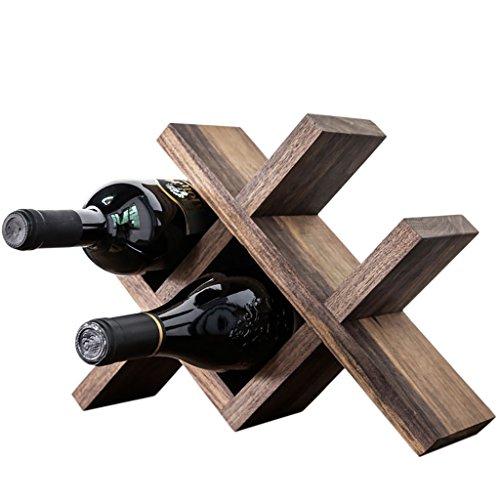 XiuHUa Wijnrek - stijlvol massief hout desktop chique decoratie stapelbare opslag kubus display capaciteit 4 flessen (330mmX240mm) Wijn vitrine