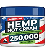 Hemp Cream - 250,000 Hemp Extract - Natural Formula with MSM, Aloe Vera, Emu Oil & Menthol - Made in USA - Perfect for Joint, Muscle, Sciatica & Back Relief - Rich in Omega 3-6-9