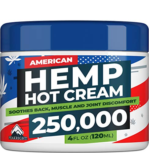 Hemp Cream for Pain Relief - 250,000 Strength Hemp Oil - Made in USA - Natural Treatment for Joint, Muscle, Sciatica & Back Pain Relief - Hot Cream with Menthol & Eucalyptus