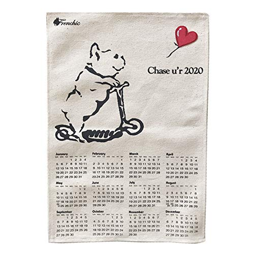 2020年フレンチブルドッグ手作りキャンバス ポスターカレンダー一枚もの30cm×45cm