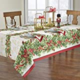 Elrene Home Fashions Holly Traditions Fabric Tablecloth, 60' x 120' Oblong/Rectangle, Multi