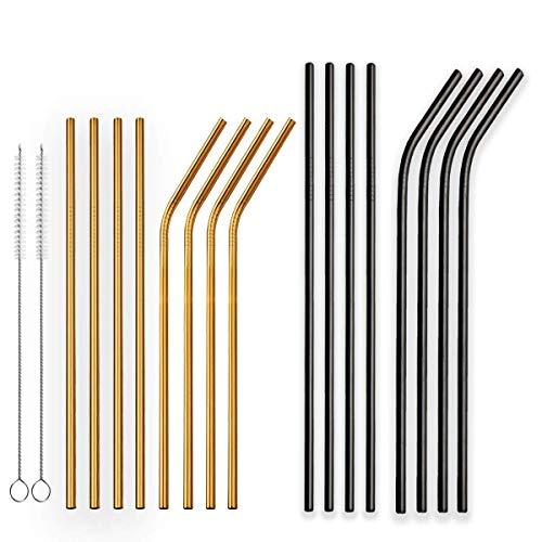 Berglander Juego de 18 pajitas reutilizables chapadas en titanio, doradas y negras, de acero inoxidable, rectas y dobladas, pajitas de metal con pinceles para batidos, bebidas congeladas, batidos