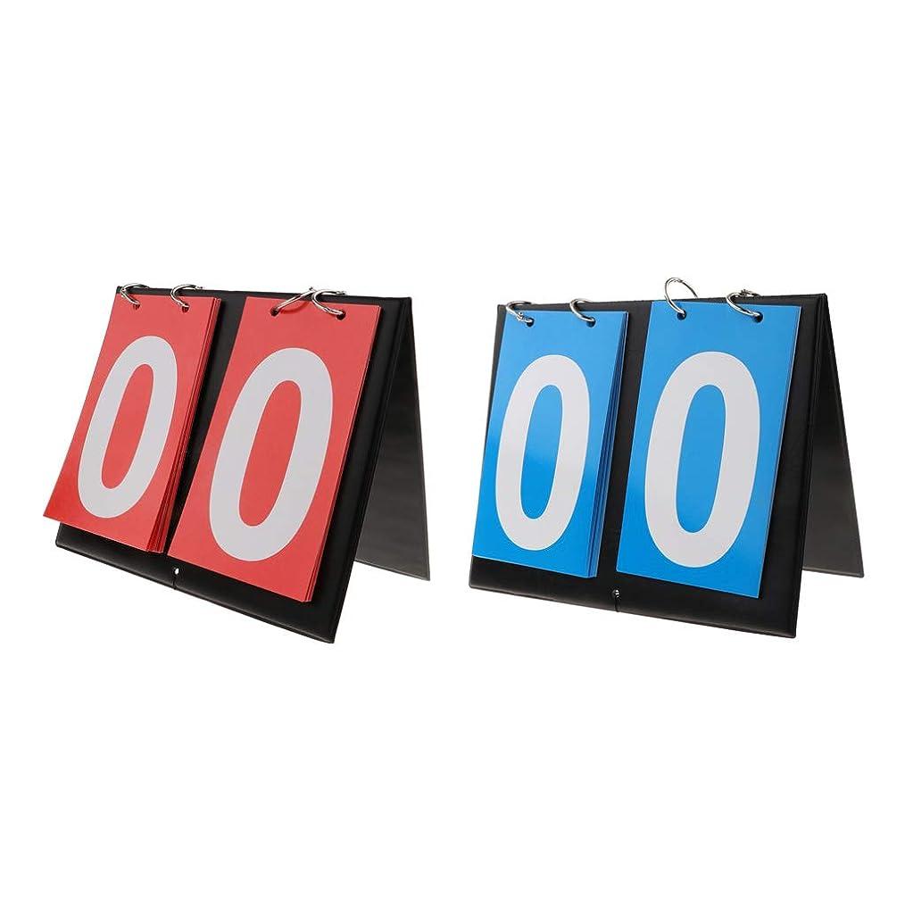 スコア手つかずの伴うFLAMEER 2個 2桁 ブルー&レッド スコアボード ポータブル フリップ 卓球用 テニス用 野球スコアボード 携帯式