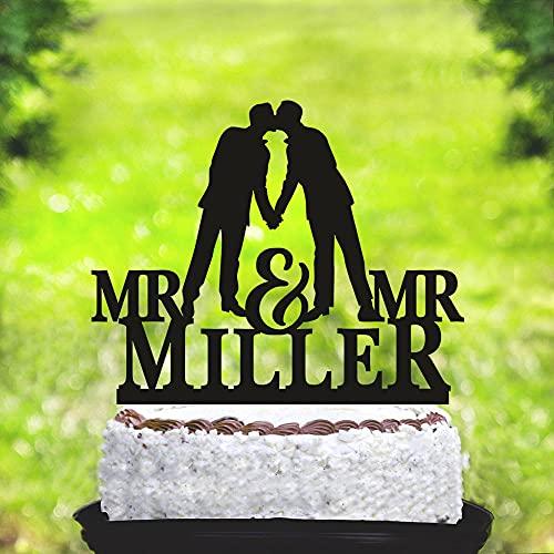 Decoración para tarta de boda gay con nombre personalizado para tarta gay con el mismo sexo, silueta gay, decoración para tartas de boda