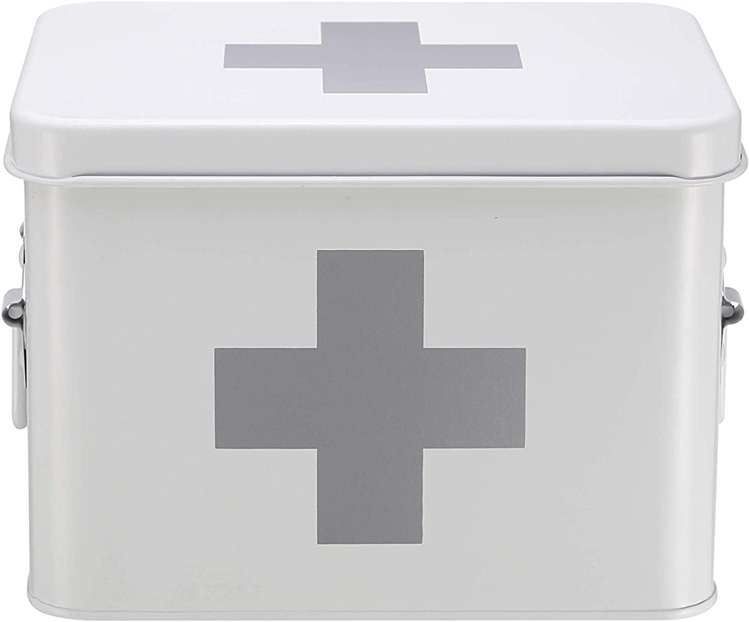 LLSDLS White Medicine Box, Medicine Tin with Double Layer and 5 Compartments, Metal Medicine Storage Box, 21.5 X 15 X 16 cm
