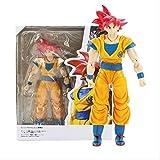 Yooped Regali Dragon Ball Super Saiyan God Son Goku Capelli Rossi Gokou Dragon Ball Action PVC Figure da Collezione Model Toy 15Cm 0916