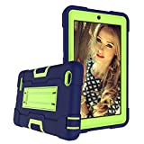 Cherrry Case for Walmart Onn 7 Inch Tablet, Heavy-Duty Drop-Proof and Shock-Resistant Rugged Hybrid case(With Stand), for Walmart Onn 7' 1/2 Generation Tablet(Model:100005206/100015685)(Navy/Green)